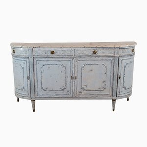Antique French Demi Lune Chest with a Carrara Marble Top, 1850s