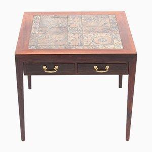 Tavolino in palissandro con mattonelle di Royal Copenhagen di Severin Hansen per Haslev Møbelsnedkeri, anni '70