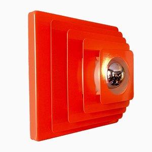 Lampada da soffitto in metallo rosso di Hustadt, anni '70