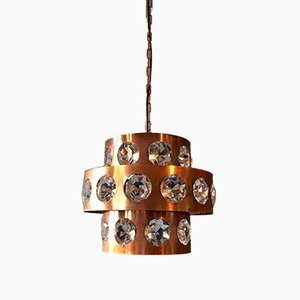 Brutalistische Lampe aus Kupfer & Kristallglas, 1960er