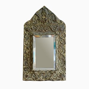 Antique Beveled Mirror with Brass Frame