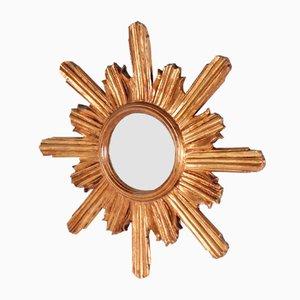 Kleiner Spiegel mit Gold Lackiertem Rahmen in Sonnen Optik, 1950er