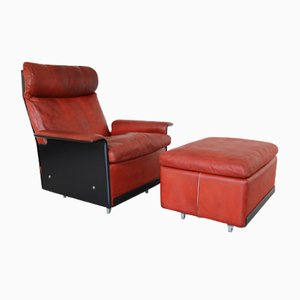 620 Highback Leather Lounge Chair & Ottoman by Dieter Rams for Vitsoe, 1960s