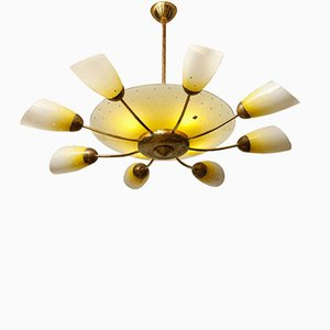 Mid-Century 8-Arm Brass Chandelier from Meissen