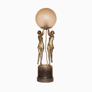 Art Deco Lampe mit Figuren, 1930er