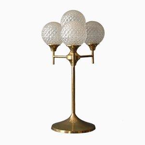 Lámpara grande de latón y vidrio, años 60