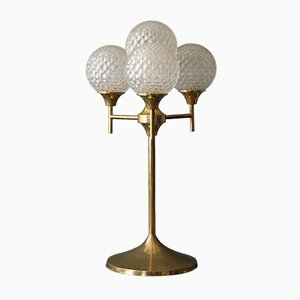 Large Brass & Glass Lamp, 1960s