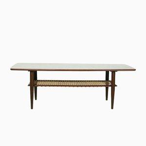 Table Basse Vintage en Teck avec Porte-revues en Rotin