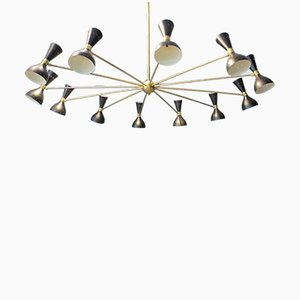 Large Mid-Century Italian 24-Light Brass Chandelier with Black Shades