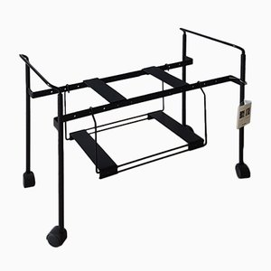 Black Enamelled Steel Teulada Extensible TV Cart by Oscar Tusquets & Lluis Clotet for Zanotta, 1988