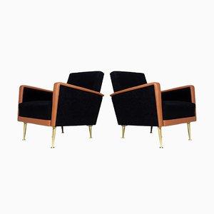 Italienische Vintage Sessel aus Leder & Stoff, 2er Set