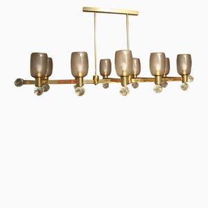 Lampadario ovale grande vintage in ottone e vetro di Murano grigio