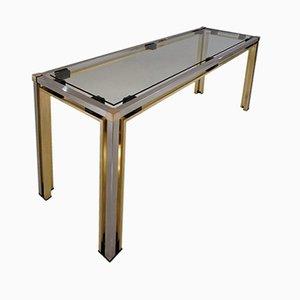 Mesa consola de latón y cromado de Romeo Rega, años 70