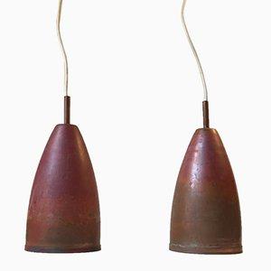 Lampes à Suspension en Cuivre de Kobberkompagniet, 1960s, Set de 2