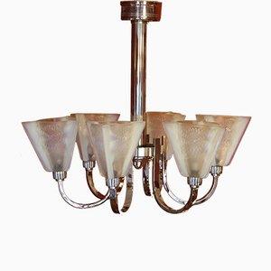 Lámpara de techo Art Déco con seis brazos y pantallas de vidrio opalino con forma de tulipán de Petitot