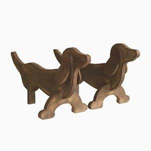 Alari Art Déco a forma di cane, anni '30, set di 2