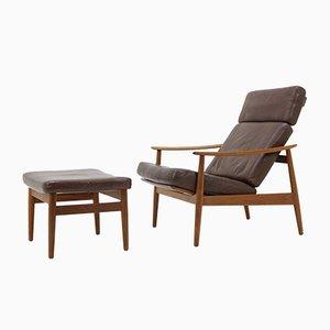 Vintage Model FD 164 Reclining Easy Chair & Footstool by Arne Vodder for France & Søn