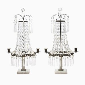 Swedish Antique Prism Table Lights for Candles, Set of 2