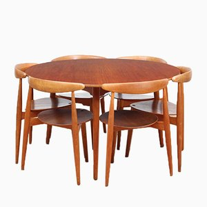 Teak Veneer & Beech Heart Dining Set by Hans Wegner for Fritz Hansen, 1952