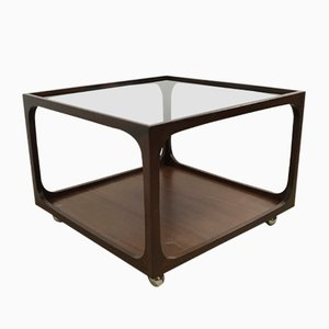 Table Basse en Verre & Acajou par Wilhelm Renz, 1960s