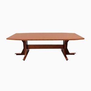 Tavolo da pranzo o da conferenza impiallacciato in legno di noce, Italia, anni '50