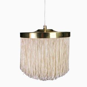 Lámpara colgante de seda y latón de Hans-Agne Jakobsson, años 60
