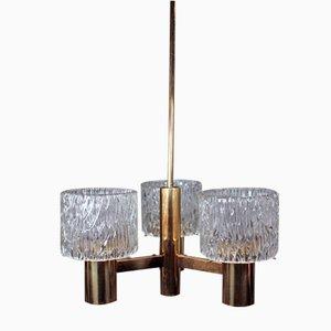Lámpara de araña sueca moderna de tres brazos de Carl Fagerlund para Orrefors, años 50