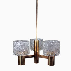 Swedish Modern Three-Arm Chandelier by Carl Fagerlund for Orrefors, 1950s
