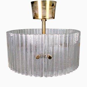 Lámpara colgante de vidrio con armazón de latón de Carl Fagerlund para Orrefors, años 60