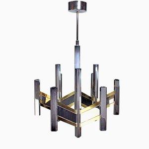 Lámpara de araña Chevron era espacial de Gaetano Sciolari, años 70
