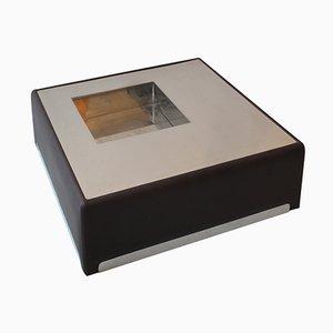 Tavolino da caffè in acciaio inossidabile e pelle, anni '70