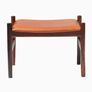 Rosewood and Leather Stool from Spottrup Mobler, 1960s