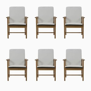 Vintage Eichenholz Armlehnstühle von Borge Mogensen für Fredericia, 6er Set