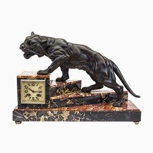 Reloj de mesa Art Déco con felino