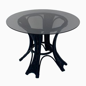 Table en Rotin Bleu, 1980s