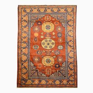 Alfombra Samarkand de lana con diseño Kothan en tonos caramelo, década de 1900