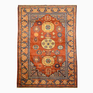 Samarkand Woolen Rug with Kothan Design in Caramel Tones, 1900s