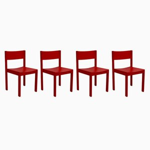 Rote Mid-Century Esszimmerstühle von E. & A. Pollak, 4er Set
