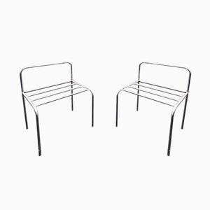 Verchromte Vintage Stühle aus Metall, 1970er, 6er Set