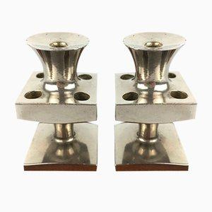 Versilberte Mid-Century Kerzenständer von E.J. Design, 2er Set