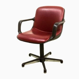 Burgundy Red Leather Executive Chairs from Comforto, 1980s, Set of 8