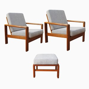 Mid-Century Danish Armchairs and Ottoman by H.W. Klein for Bramin, Set of 3