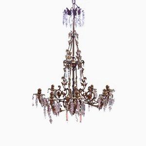 Lámpara de araña española antigua de bronce y cristal tallado de 8 brazos
