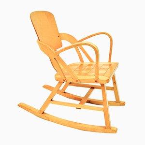 Rocking Chair Vintage avec Motif à Carreaux par Per Aaslid Norway pour Aaslid Stolfabrikk, 1950s