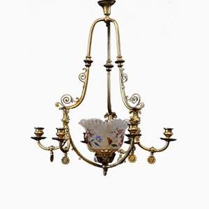 Antique Spanish 6-Armed Gas Chandelier, 1850s
