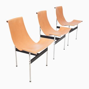 T Chairs in Natural Cognac Leather from Laverne International, Set of 3