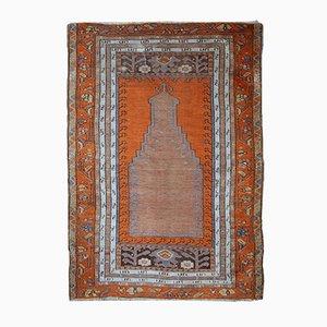 Alfombra de oración Anatolian turca vintage hecha a mano, años 40