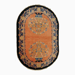 Hand- Knotted Oval Art Deco Chinese Rug