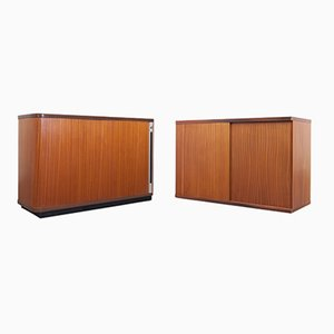Vintage Office Cabinets with Tambour Doors, Set of 2