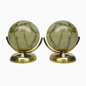 Vintage Art Deco Brass Bedside Lamps, Set of 2